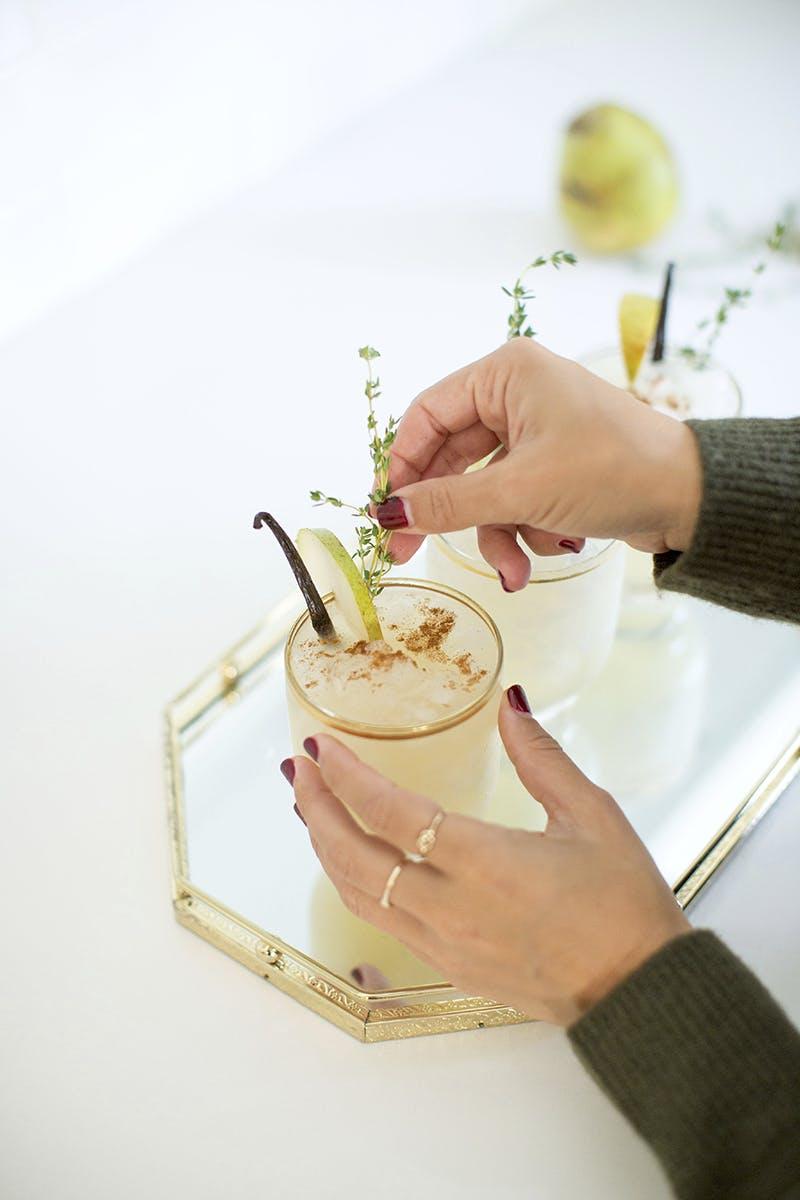 Sparkling Spiced Pear Cocktail Recipe   GrayMalin.com/Lifestyle